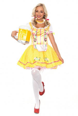 Oktoberfest Costumes - Ladies Beer Maid Costume Oktoberfest Bavarian Wench German Heidi Fancy Dress