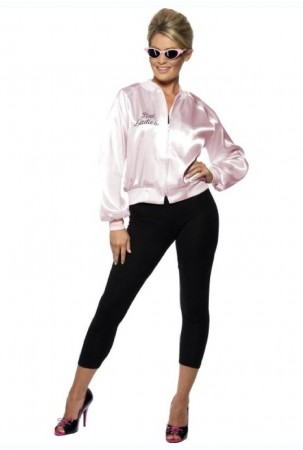 Ladies 50's 1950's Grease Pink Lady Satin Jacket Costume cs28385