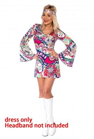 Ladies 60s 70s Retro Hippie Go Go Girl Costume