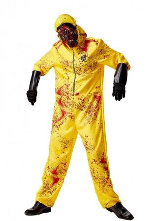 Adult Yellow Biohazard Hooded Jumpsuit view tt3122