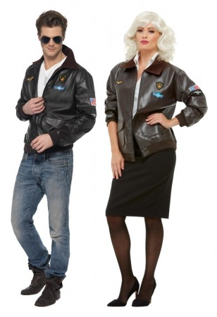 Mens Air Force Bomber Jacket Costume Military Fighter Pilot Top Gun Party Outfit