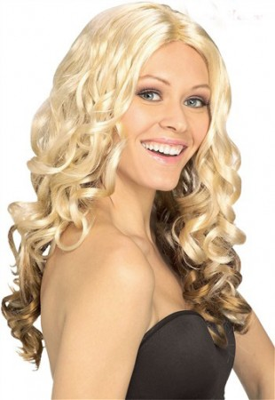 Wigs - Ladies Blonde Curly Wig