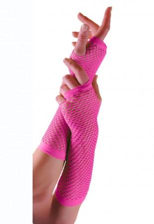 Pink Fishnet Gloves Fingerless Elbow Length 70s 80s Women's Neon Party Dance