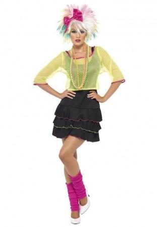 80s Costumes Australia - Ladies Smiffys Pop Tart Disco Dancer Costume 1980s 80s Outfit Rock Retro Punk Dress Costume Madonna Cyndi Lauper