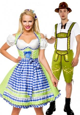 Green Couple Lederhosen Dirndl Maid Costume lh215+lh324