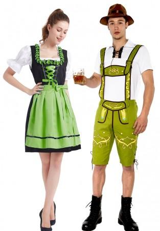Green Couple Lederhosen Beer Maid Costume lh215g+ln1001g