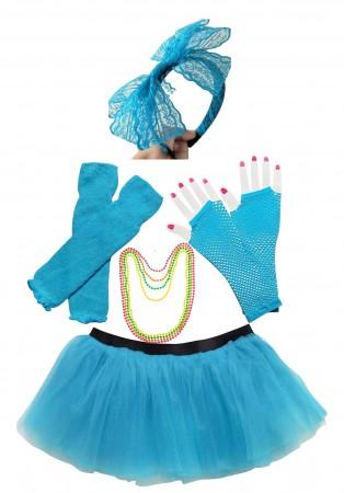 Lake blue Coobey Ladies 80s Tutu Skirt and Accessory Set tt1074-7tt1059-10lx3006-8tt1017tt1048-8