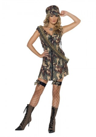Army And FBI Cosutmes - Smiffys Licensed Ladies Fever Army Girl Flight Combat Military Police Soldier Fancy Dress Up Outfits