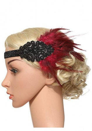 1920s Red Feather Vintage Great Gatsby Flapper Headpiece