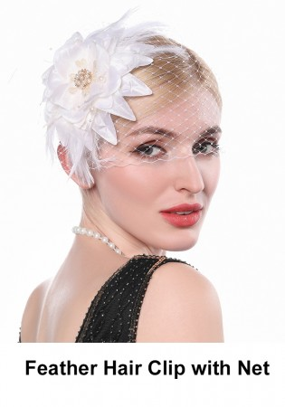 20s Feather Hair Clip with Net accessory lx0255