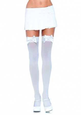 White Tight High Stockings With White Bow