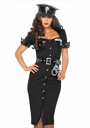 Cops & Robbers Costumes - Ladies Black Police Cops Uniform Fancy Dress Costume Outfit