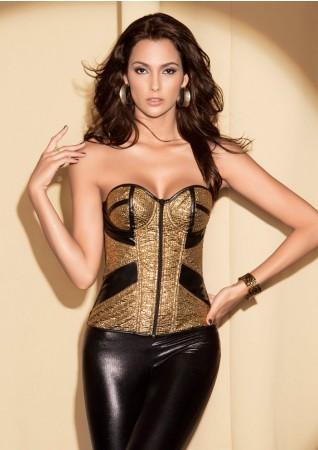 Corsets Bustiers - Gold Boned Lace Up Corset