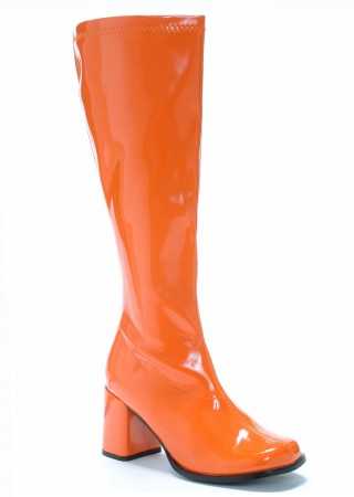 Ladies Go Go Boots Orange Knee High Wide fit Adult Women Boots Shoes Hippy 60 70 Disco