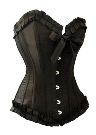 Corsets Bustiers - Black Boned lace up Corset, g string