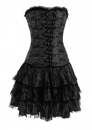 Corsets Bustiers - Gothic Black Lace up dress corset, g string, skirt
