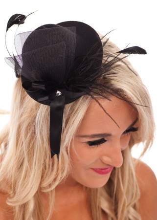 Hat - Black Mini Top Hat With Feather Burlesque Fascinator