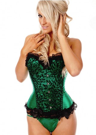 Corsets Bustiers - Green Boned lace up Corset, g string