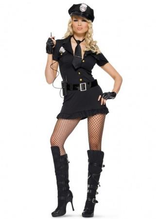 Ladies Black Police Cops Uniform Costume