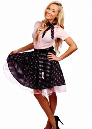 1950s, 50s Costumes Australia -  Ladies 50s 1950s Grease Bopper Poodle Pin Up Costume Hop Diva Rock Polka Fancy Dress