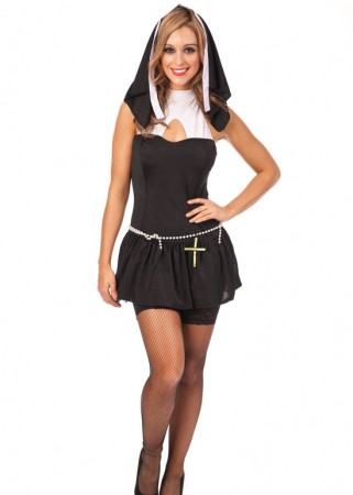 Nun Costumes - Sexy Black Nun Party Dress Costume Full Outfit