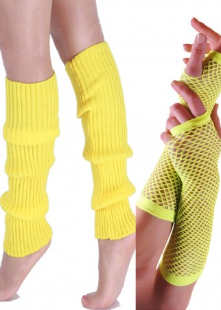 Yellow 80s Neon Fishnet Gloves Leg Warmers Accessory Set