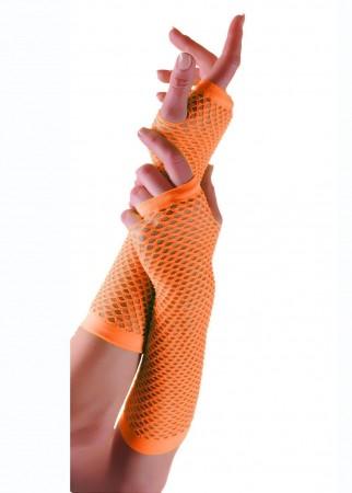 Orange Fishnet Gloves Fingerless Wrist Length 70s 80s Women's Neon Accessories