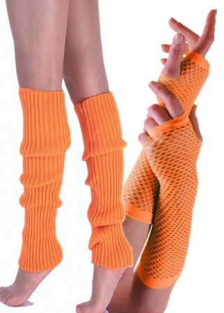 Orange 80s Neon Fishnet Gloves Leg Warmers