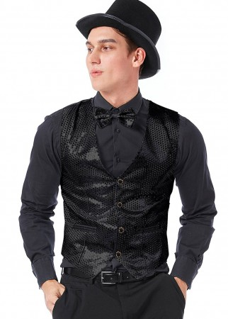 Unisex Black Sequin Vest Waistcoat 80s Disco Dance Party Show Costume