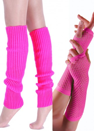Pink 80s Neon Fishnet Gloves Leg Warmers Costume Accessory Set