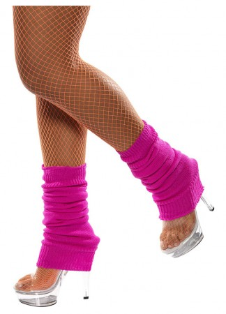 Licensed Womens Pair of Party Legwarmers Knitted Neon Dance 80s Costume Leg Warmers Hot Pink