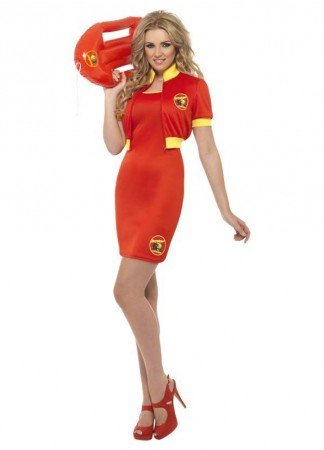 Sports Costumes - Licensed Ladies Baywatch Beach Lifeguard Uniform Smiffys Fancy Dress Costume Outfits