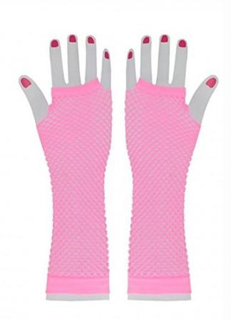 Baby Pink Fishnet Gloves Fingerless Wrist Length 70s 80s Women's Neon Accessories