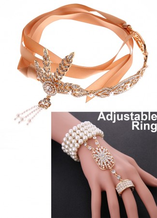 1920s Headband bracelet Ring Golden Vintage Set