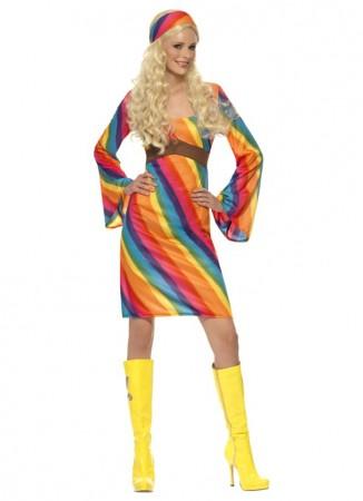 60s, 70s Costumes Australia - Ladies RAINBOW 60s 70s Retro Hippie Go Go Girl Disco Licensed Costume Fancy Dress Hen Xmas Party
