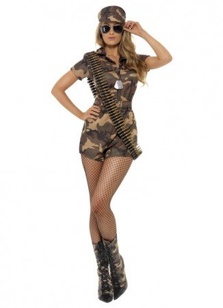 Army And FBI Cosutmes - Licensed Ladies Army Top Gun Flight Combat Girl Military Police Soldier Fancy Dress Up Outfits