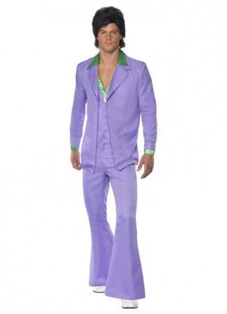 60s, 70s Costumes Australia - 1970s 70s Suit Lavender Groovy Dancer Mens Fancy Dress Party Retro Costume Disco Saturday Night Fever Suit