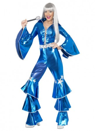1950s, 60s, 70s & 80s Costumes Australia - Licensed 1970s 70s 1980s 80s Dancing Dream Disco Queen Blue Lame Costume Adult Fancy Dress Pop Abba Tribute Retro Outfits Catsuit Lace Up Jumpsuit