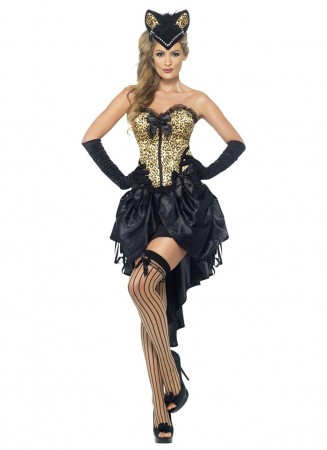 Cat Costumes - Adults Womens Sexy Cabaret Burlesque Kitty Cat Animal Halloween Fancy Dress Costume WITH Cap