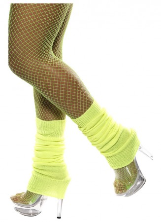 Licensed Womens Pair of Party Legwarmers Knitted Neon Dance 80s Costume Leg Warmers yellow