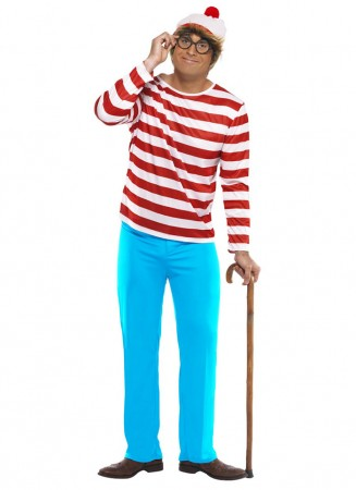 Cartoon Costume -  Mens Wheres Wally Waldo Adult Licensed Cartoon Costume Book Week Outfit
