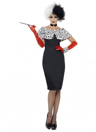 Movie Costumes  - Womens Evil Madame Cruella De Vil 101 Dalmations Fancy Dress Costume