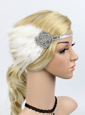 1920s White Feather Great Gatsby Flapper Headpiece