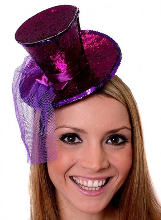Purple Fever Mini Top Hat on headband Ladies Mini Glitter Top Hat