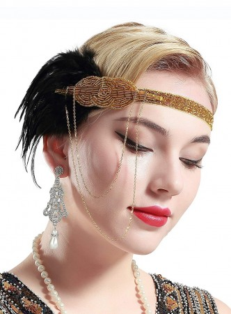 1920s Gold Great Gatsby Flapper Headpiece