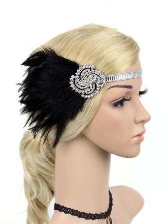 1920s Black Feather Gangster Gatsby Flapper Headpiece