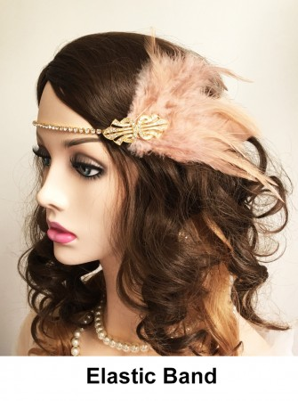20s Headpiece in Apricot color lx0253