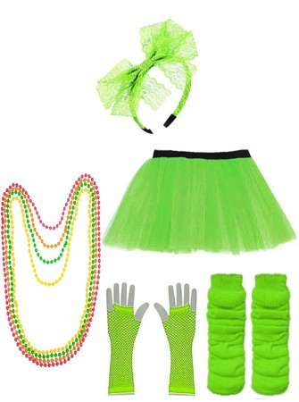 Green Coobey Ladies 80s Tutu Skirt and Accessory Set tt1074-8tt1059-3lx3006-4tt1017tt1048-9