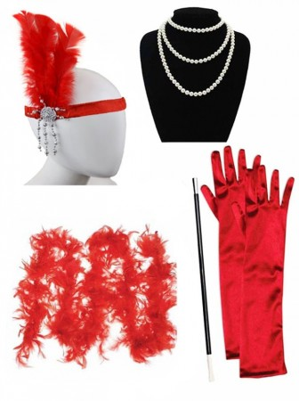 Red 1920s Charleston Ladies 20s Gatsby Burlesque Flapper Fancy Dress Costume Accessory Set