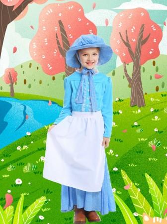 Victorian Maid Miss Historical Pioneer Colonial Girls Kids Olden Days Book Week Costume